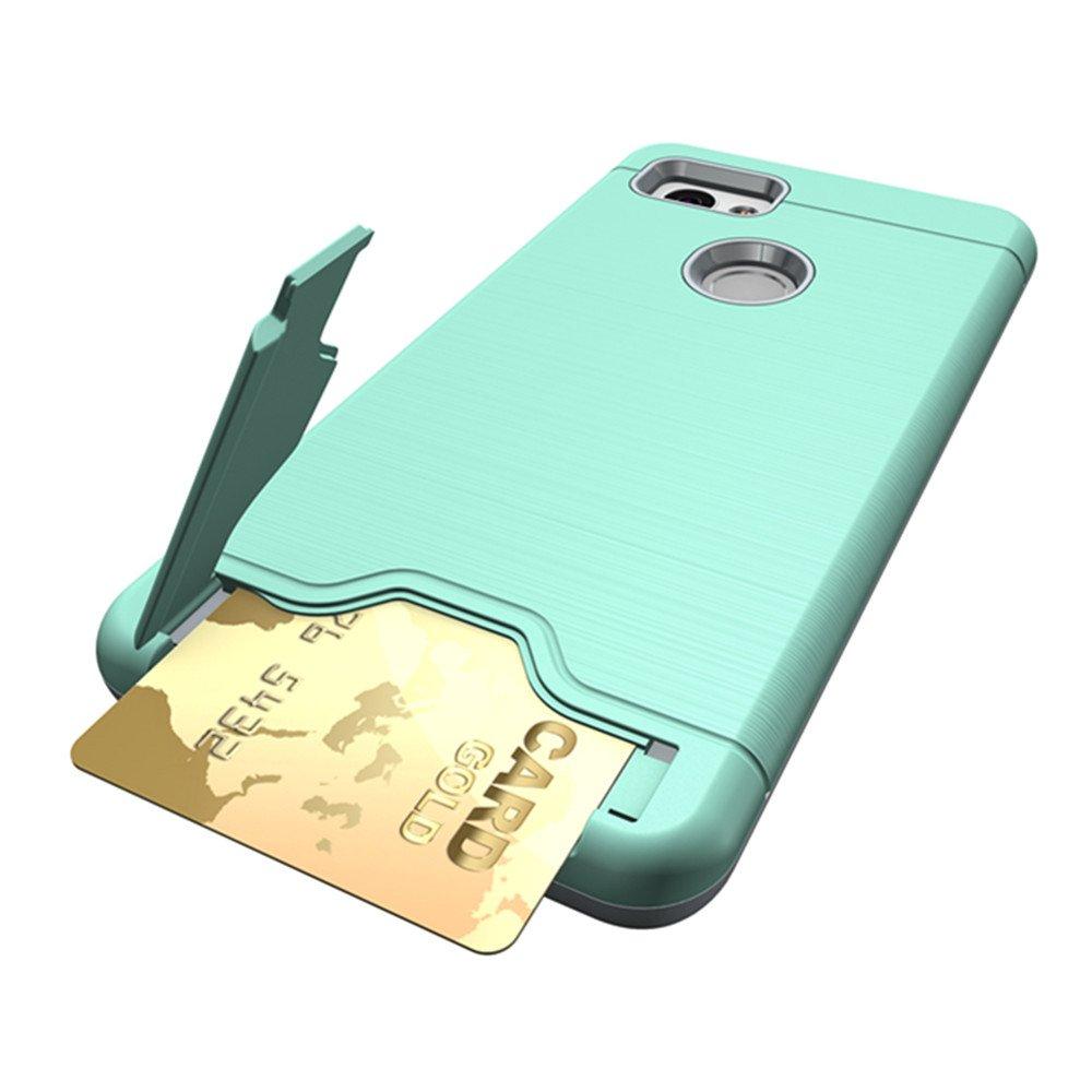 Google Pixel 2 Case, KAMII [Card Slot Holder] Shockproof Slim Fit Dual Layer Hybrid Wallet Case Protective Hard Cover Skin Card Holder with Built-in Kickstand for Google Pixel 2 (2017) (Aqua) by KAMII (Image #2)