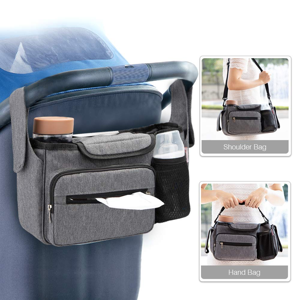 Stroller Organizer-Universal Stroller Bag with Cup Holders&Detachable Wristlet,Easy Installation - Universal Stroller Organizer for Smart Moms