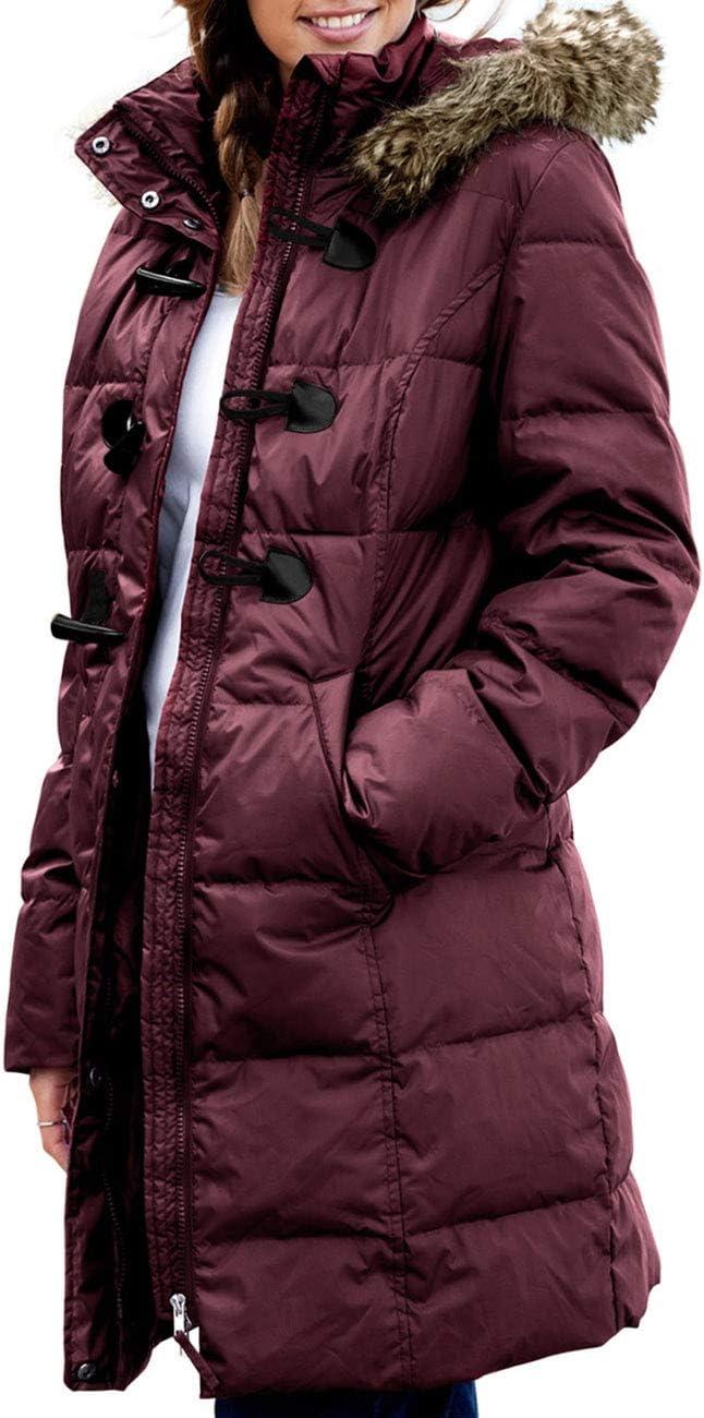 معطف CILKOO نسائي مبطن بياقة من الفرو الصناعي بسحاب لأعلى (مقاس S-XXL، بدون غطاء للرأس)