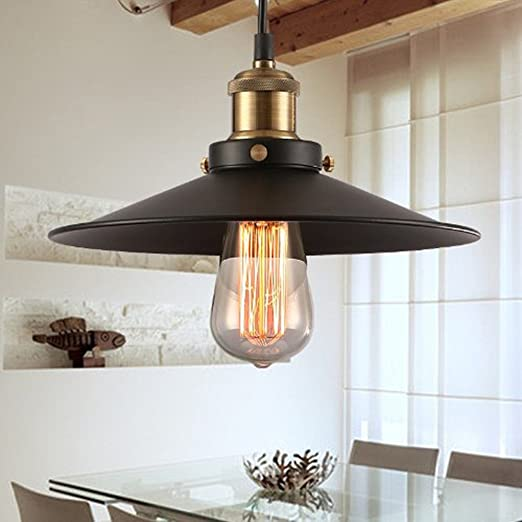 22CM NODIFAN Vintage Retro Edison Loft Pendelleuchte Retro Industrielle Deckenleuchte Lackiertem Eisen Regenschirm Lampenschirm 1X E27 Fassung