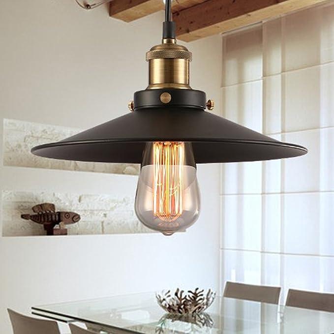Vintage techo Edison Loft lámpara colgante retro, Makion Industrial bombilla incandescente Pintado Hierro Sombra paraguas del estilo de país de la ...