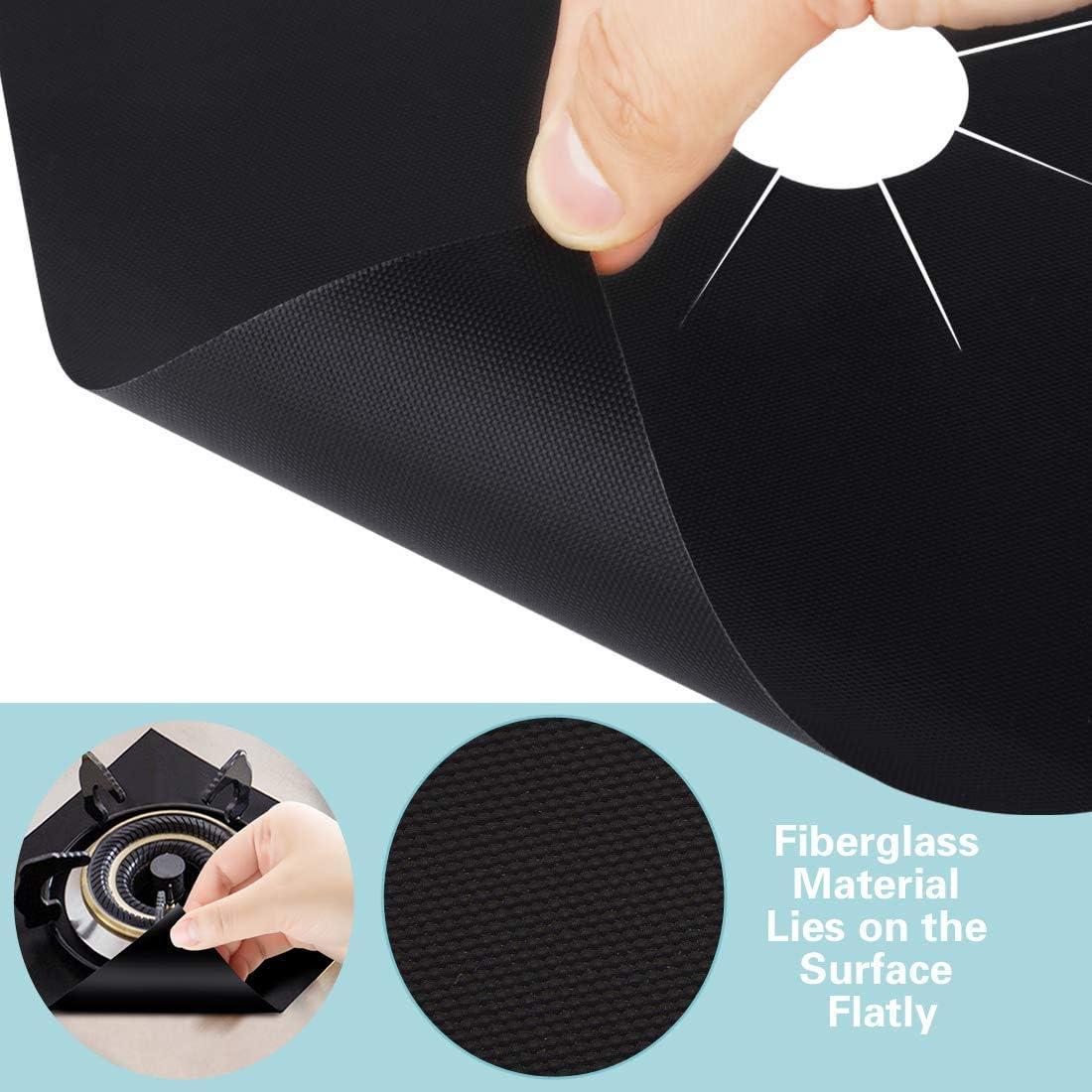 TAOPE Lot de 8 housses de protection pour br/ûleur /à gaz r/éutilisables anti-adh/ésifs et r/ésistants /à la chaleur Noir 26,9 x 26,9 cm