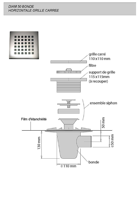 Lazer 230285 Isotanche Classic B/âche d/étanch/éit/é avec siphon sortie horizontale grille carr/ée /Ø 50 1200 x 1200 mm