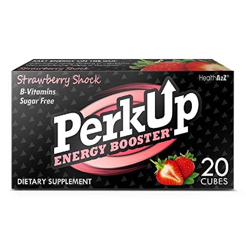 PerkUp Energy Booster Strawberry Shock, 20 – A Healthy Alternative to Energy Drinks. Natural Caffeine from Green Coffee Bean with Vitamins for Energy. No Sugar and no Crash.
