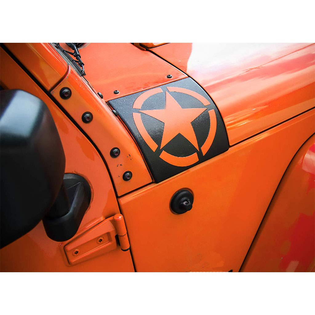 Orange Cowl Body Armor Outer Cowl Covers Corner Guards for Jeep Wrangler JK 2007-2017