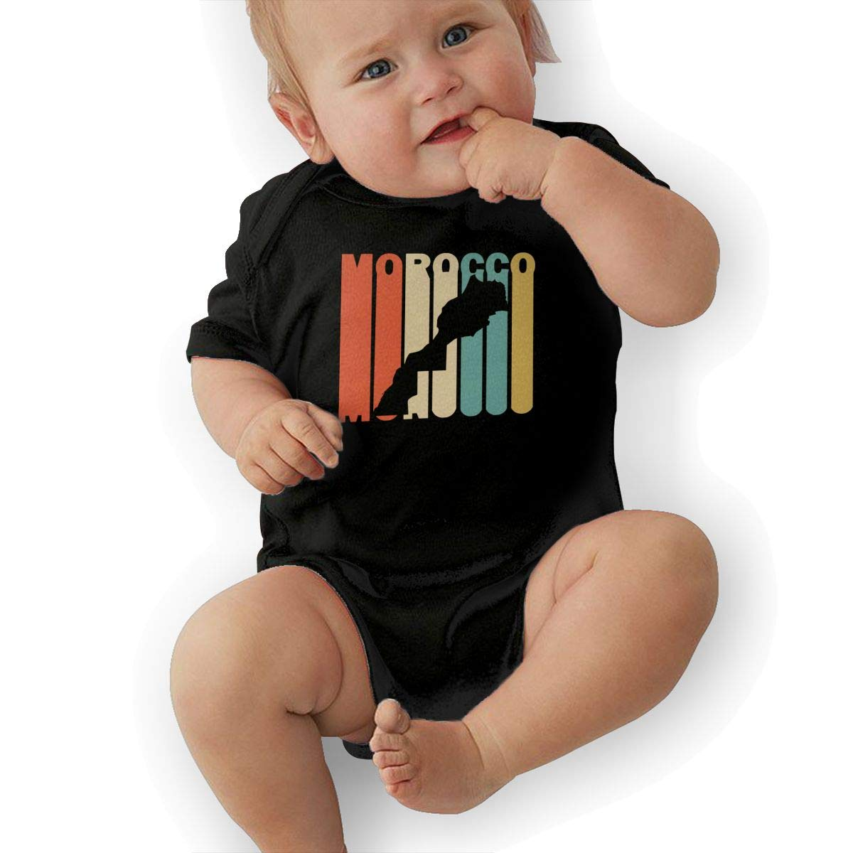 Short Sleeve Cotton Rompers for Unisex Baby Soft Retro Style Morocco Silhouette Crawler