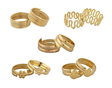 Buy Nisa Pearls 5 pairs of Gold Plated Toe Rings For Women line