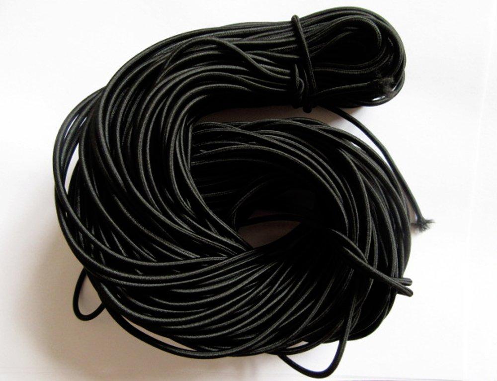 YYCRAFT Pack Of 20y 3mm Satin Round Elastic Cord Hair Metres Bracelet Hat Black