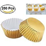 OUNONA 200pcs Thickened Aluminum Foil Cupcake Liners Mini Cake Muffin Molds for Baking (Light Golden)
