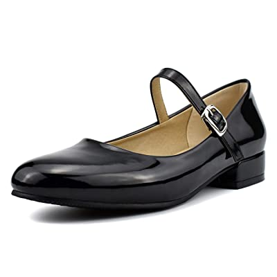 100FIXEO Women Ankle Strap Mary Janes Patent Leather Casual Ballet Flats | Flats