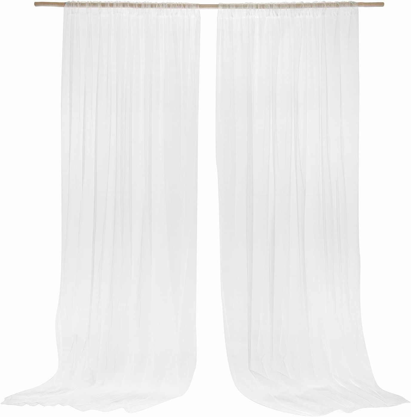 Ling's moment Wrinkle-Free White Sheer Backdrop Curtains 10ft x 10ft Chiffon Fabric Drapes for Wedding Ceremony Arch Party Stage Decoration