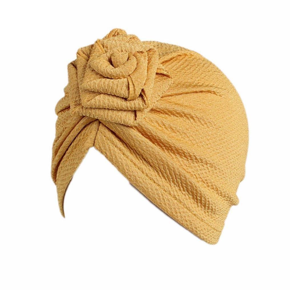 Tiean Children Baby Girls Boho Hat Beanie Scarf Turban Head Wrap Cap (Yellow)
