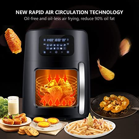 12.4Qt XL Air Fryer Oven with Large Viewing Window, 12-in-1 Programmable Electric Hot Deep Fryer Combine with Food Dehydrator, LED Touchscreen, 7-Piece Accessories, Rotisserie, Auto Stirring – 1700W