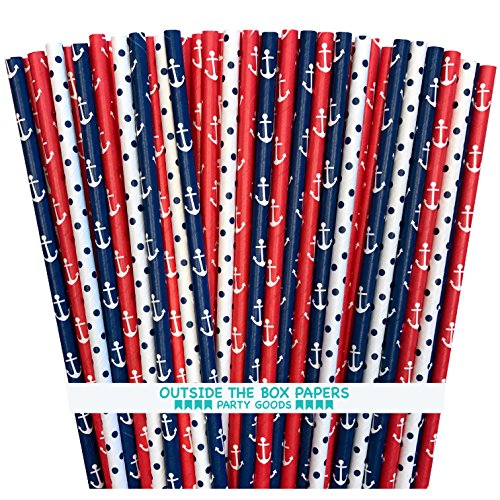 Outside the Box Papers Polka Dot and Anchor Nautical Themed Paper Straws 7.75 Inches 75 Pack Navy Blue, Red, (Nautical Themed Food)