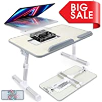 TRENDY Adjustable Laptop Stand Bed Table with Cooling Fan, Portable Standing Desk, Foldable Sofa Breakfast Tray, Notebook Stand Reading Holder for Couch Floor Kids - Honeydew Color