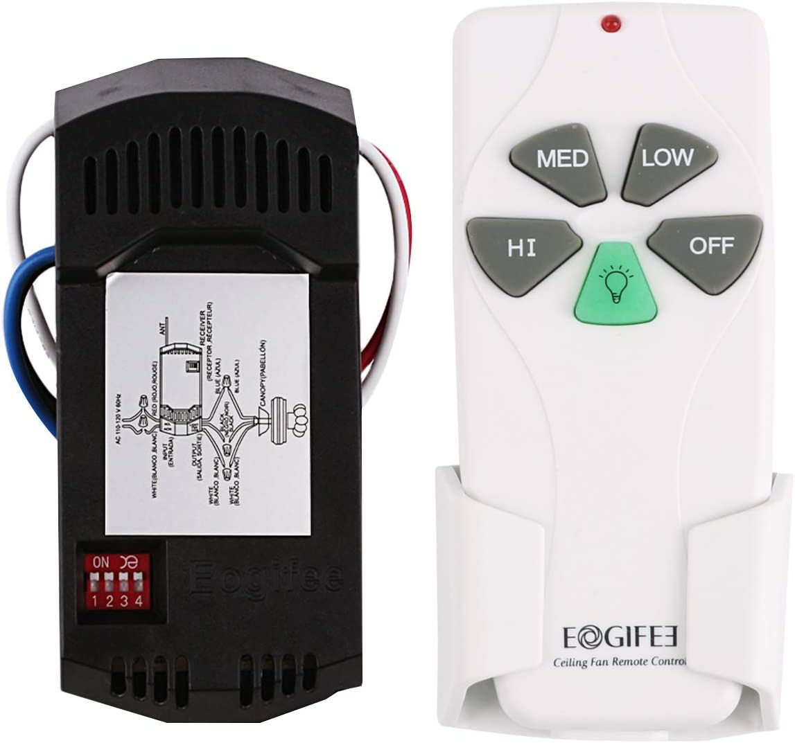 Eogifee Universal Ceiling Fan Remote Control And Receiver Kit Replacement Of Hampton Bay Harbor Breeze Hunter Fan 53t 2aazpfan 53t Kit Amazon Com