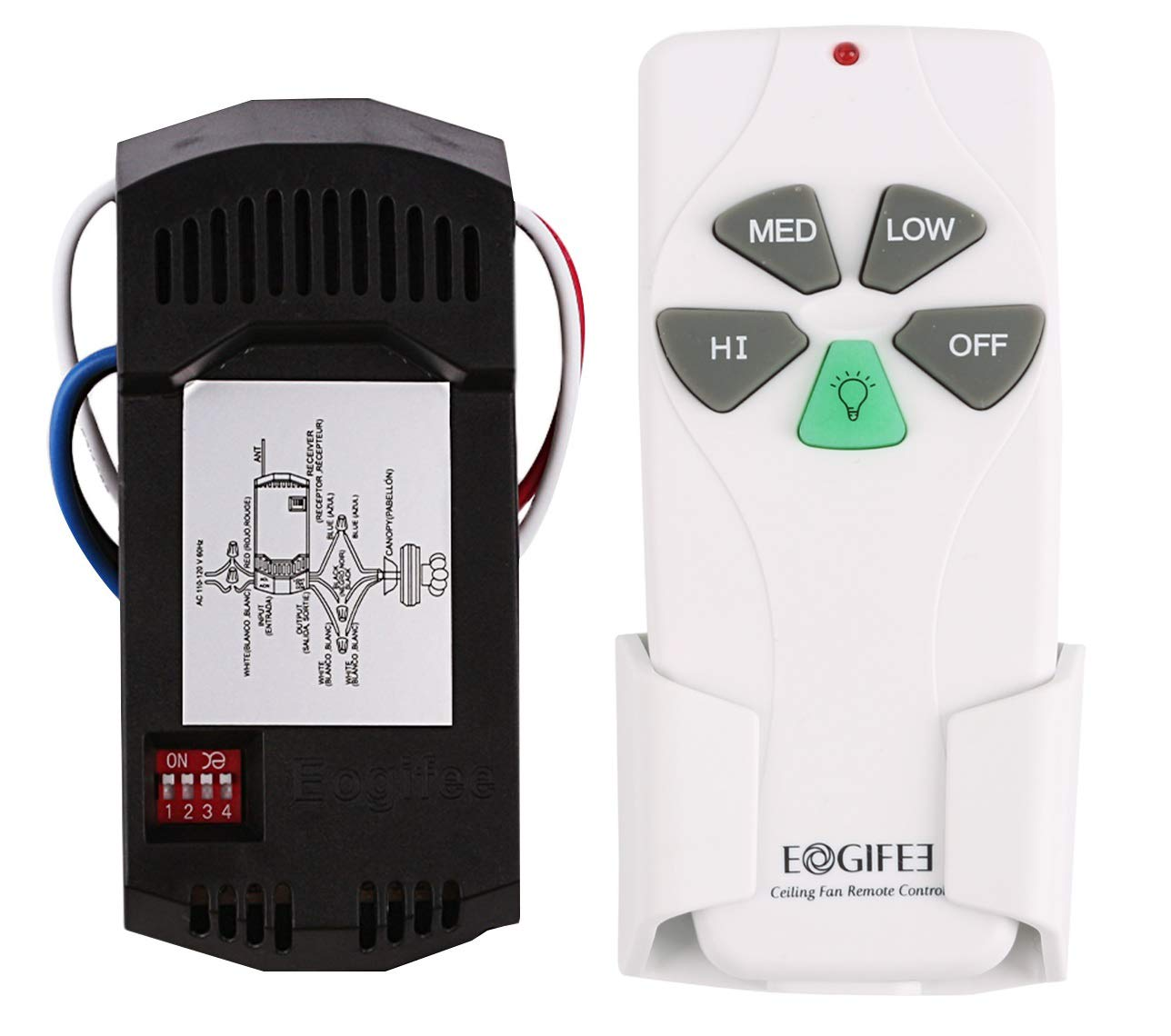 Eogifee Universal Ceiling Fan Remote Control and Receiver Kit ...