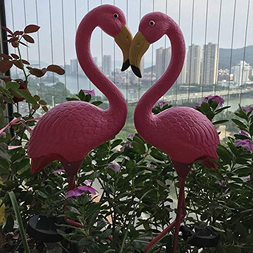 - Hi9 Pink Flamingo Solar Light Yard Art Plastic Metals Garden Ornaments (2)