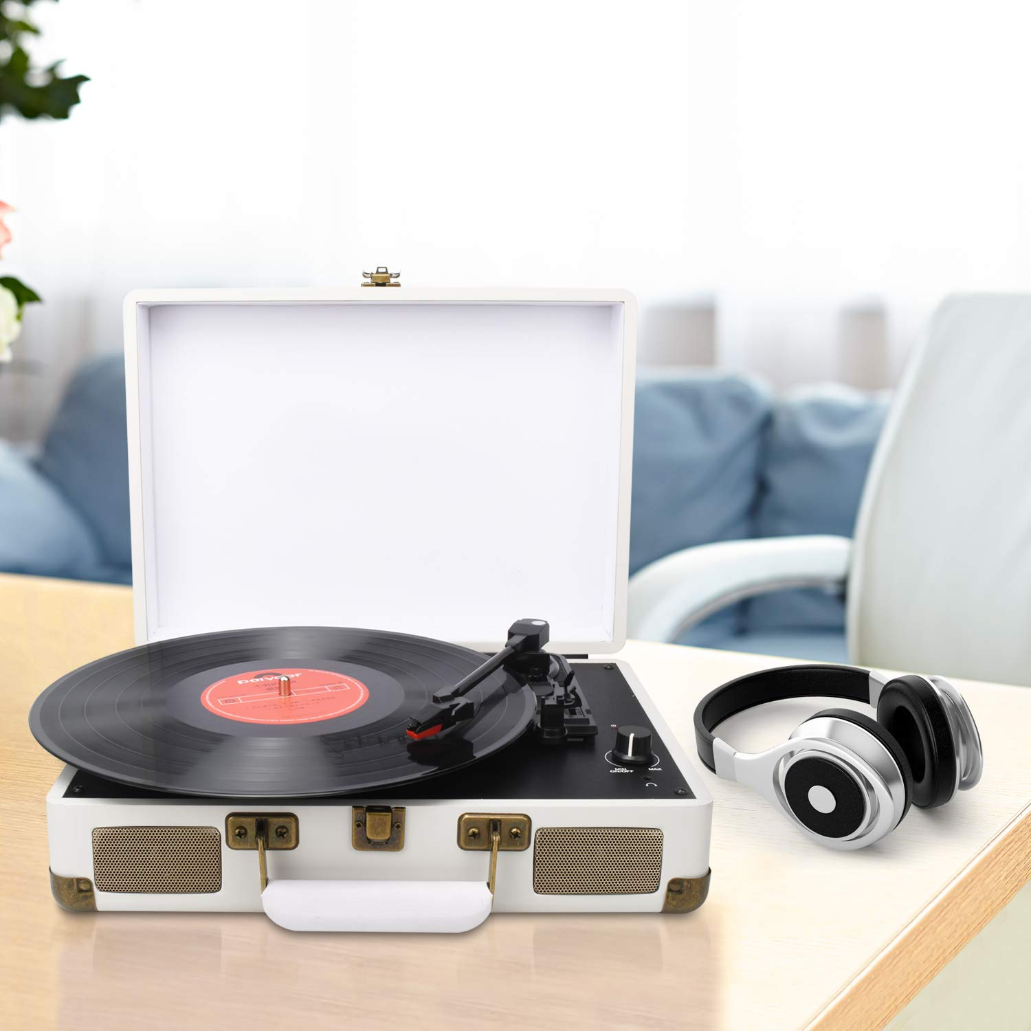 DIGITNOW! Turntable Record Player 3speeds with Built-in Stereo Speakers, Supports USB / RCA Output / Headphone Jack / MP3 / Mobile Phones Music Playback,Suitcase Design by DIGITNOW (Image #6)