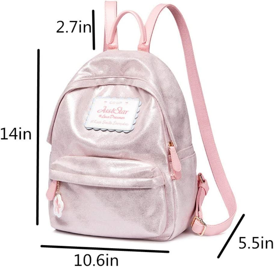 Color : Pink ZYqi Fashion Backpack Casual Large Capacity Flash Student Bag Travel Backpack Female