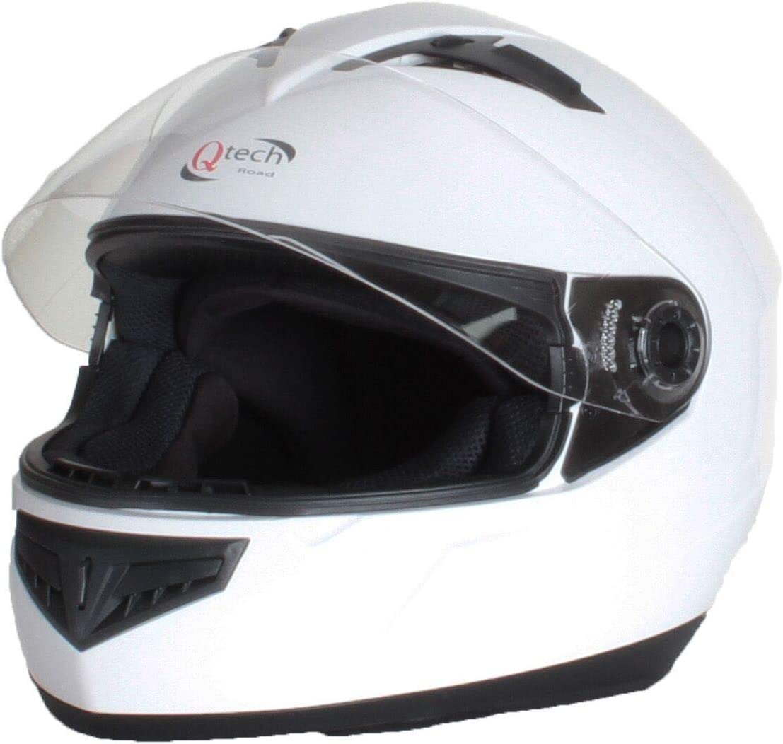 L Argento Opaco 59-60cm Qtech Casco Integrale con Visiera Motocicletta Scooter Uso Strada ECE Approvato