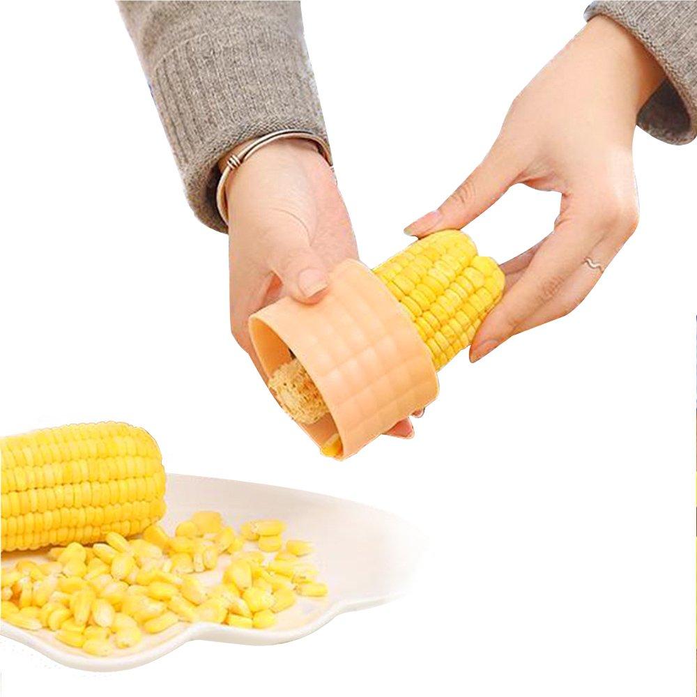 Corn Stripper Corn Cutter Corn Peeler Corn Stripping Corn Slicer Food Grade Stainless Steel with Serrated Blade Ergonomic Non-Slip Grip Design Corn Removal (Green)