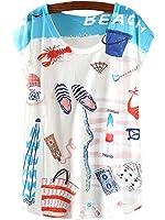 KaiTingu Women's Short Sleeve Beach Graphic Print Vintage T Shirt White