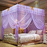 Nattey 4 Corner Post Bedding Curtains Canopy Mosquito Netting With Bed Frame (Full, Purple)