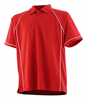 Finden & Hales LV372 Kids Piped Performance Coolplus® Polo Shirt Red/White  11-