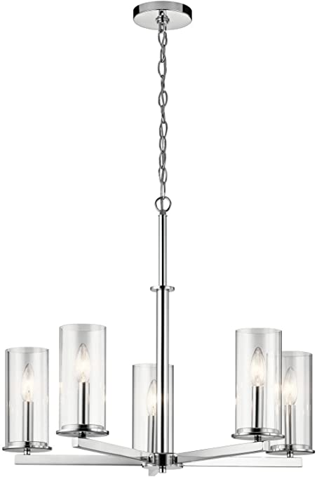 Kichler 43999ch crosby 2625 5 light clear glass chandelier in kichler 43999ch crosby 2625quot 5 light clear glass chandelier aloadofball Choice Image
