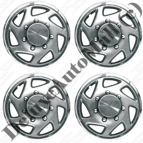 1995, 1996, 1997 Ford F250 / F350 Silver with Chrome Ring Wheel Covers / Hubcaps (Set of 4) - 16 by DeluxeAuto (Chrome F350 Cover)
