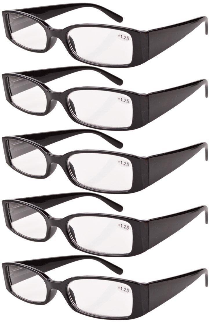 6698e864b6ae Galleon - Eyekepper Spring Hinge Plastic Reading Glasses (5 Pack) Readers  Women Black +4.0