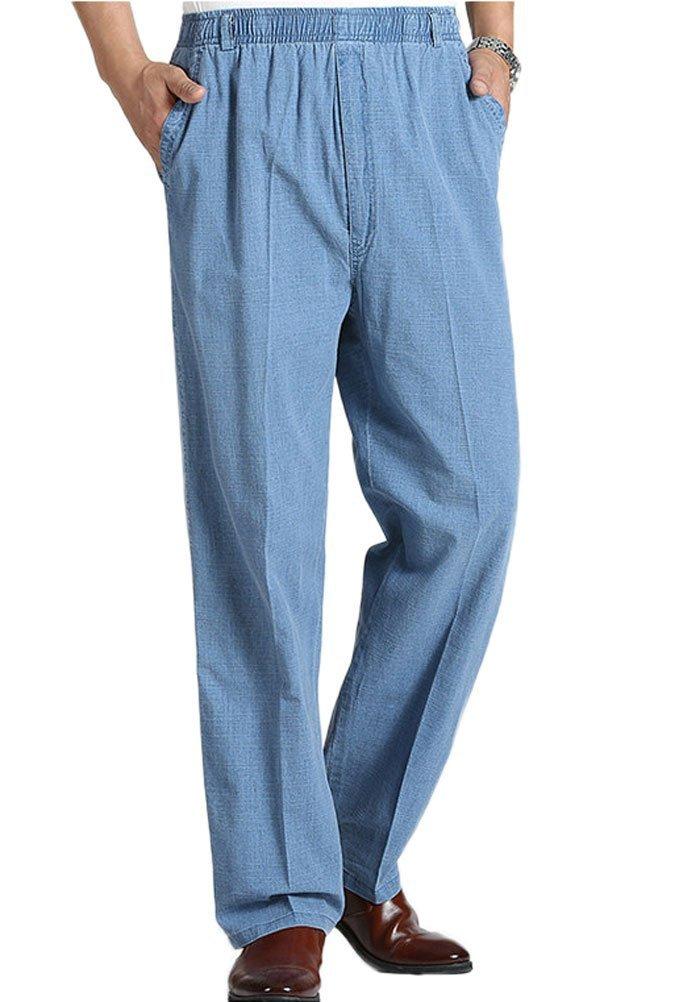 Soojun Mens Seniors Solid Loose Fit Elastic Casual Pants, Denim Blue, Medium