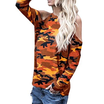 4911e4449aa456 Image Unavailable. Image not available for. Color  Women Blouse Daoroka  Ladies Sexy Cotton Camouflage Long Sleeve Off Shoulder Casual Shirts Tops