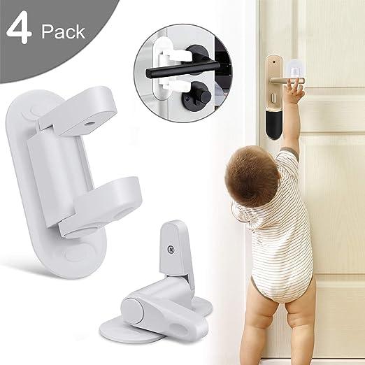 No Drill No Screw Door Lever Lock Child Proof Door Handle Lock Baby Safety Lock