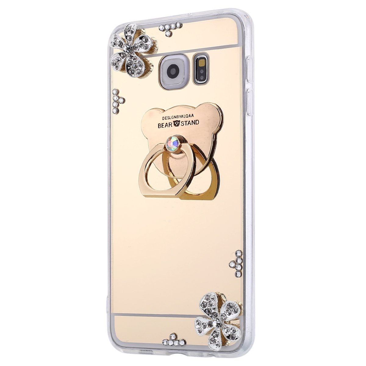 Isaken Galaxy S6 Edge Plus Case Ring Holder Mirror For Samsung Protection