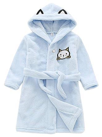 f0d1cb75a9c4b Peignoir en Flanelle Douce Robe de Chambre à Capuche Chaude Pyjama Manche  Longue Animal Motif Mignon