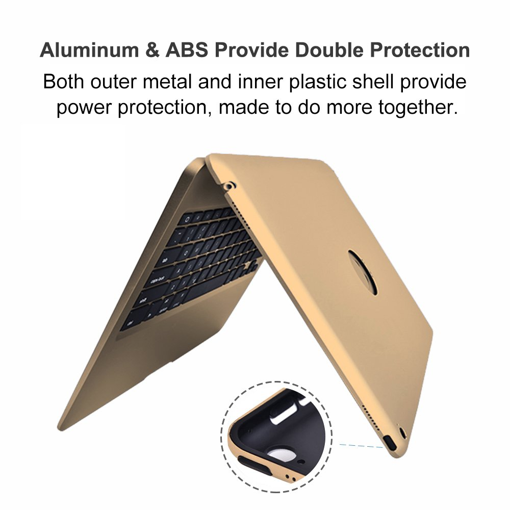 MOSTOP iPad Pro 12.9-inch Keyboard Bluetooth 7-color LED Backlit Slim Aluminum Wireless Keypad with Built-in 5600mAh Power Bank for iPad Pro 12.9'' (Gold) by MOSTOP (Image #7)