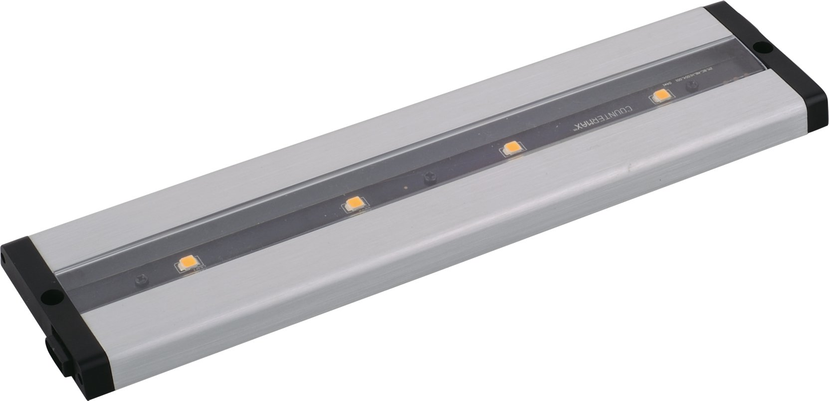 Maxim 89941AL CounterMax MX-L-LPC 12'' 4-Light LED Under Cabinet, Brushed Aluminum Finish, Clear Glass, Cree LED Bulb , 60W Max., Dry Safety Rating, Standard Dimmable, Glass Shade Material, 672 Rated Lumens