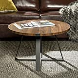 WE Furniture Rustic Farmhouse Round Metal Coffee Accent Table Living Room, 30 Inch, Walnut Brown, Black