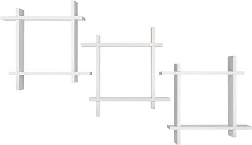 Burnes of Boston Interlocking Wall Mounted Storage Cube Set, Set of 3, White Floating Shelf