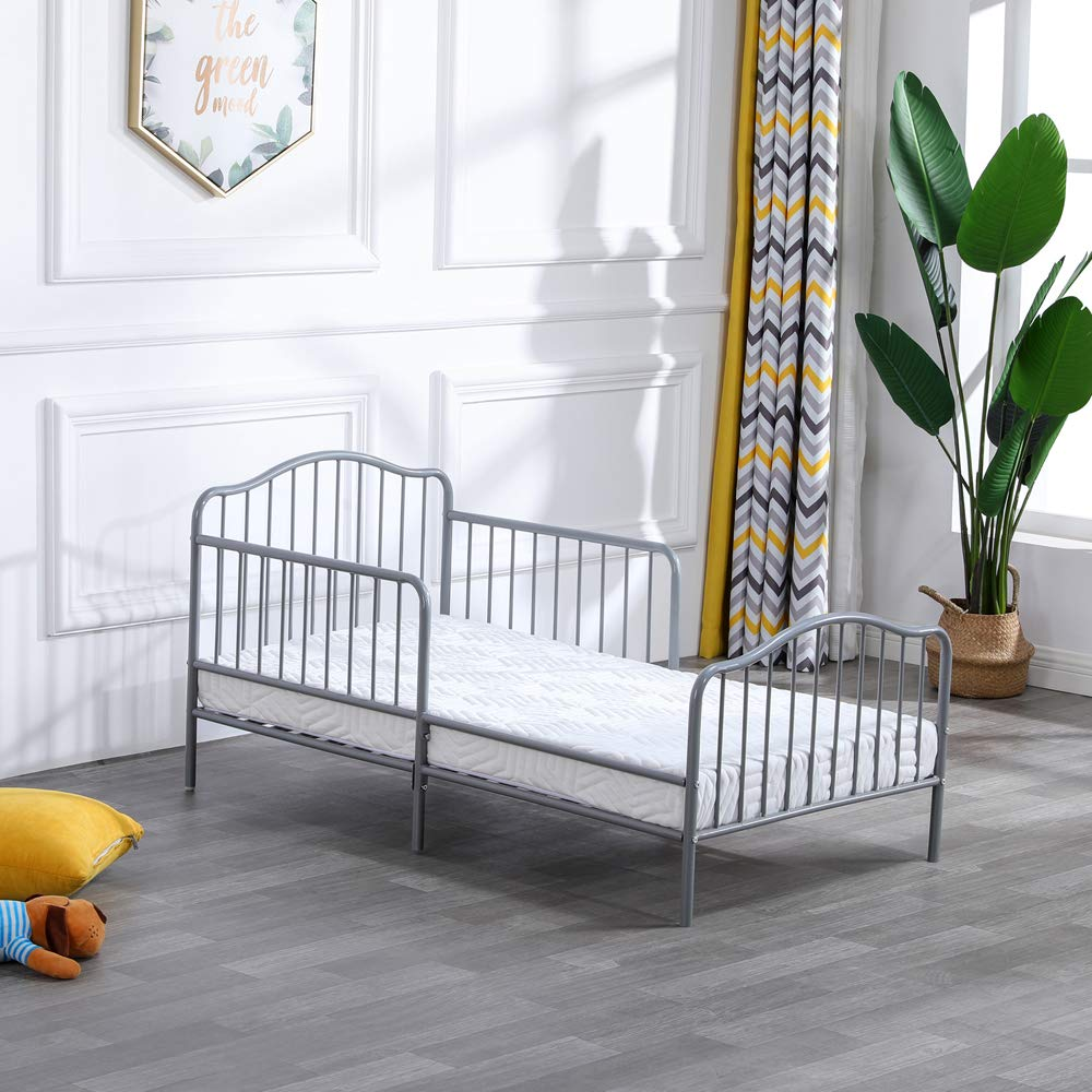 Bonnlo Metal Toddler Bed Frame with Guard Rail, Gray by Bonnlo