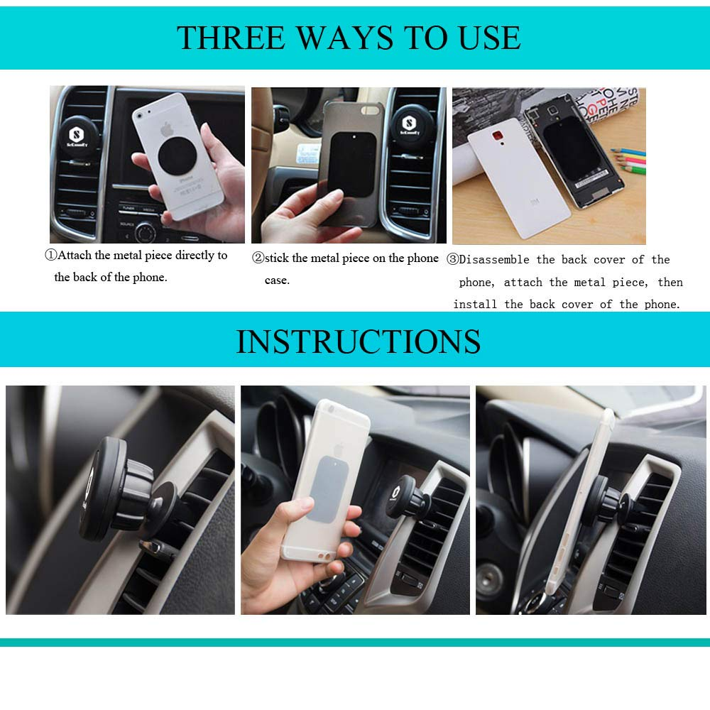 Car Phone Mount Adjustable Universal Air Vent Magnet Car Phone Mount Holder Phone and Tablets Dashboard Cell Phone Holder for Car with 2 Metal Plates SUHANG 4351557751