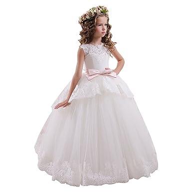 f9adf604c Yanlu Ball Gown Long Flower Girl Dresses Princess Tulle Lace Girls ...