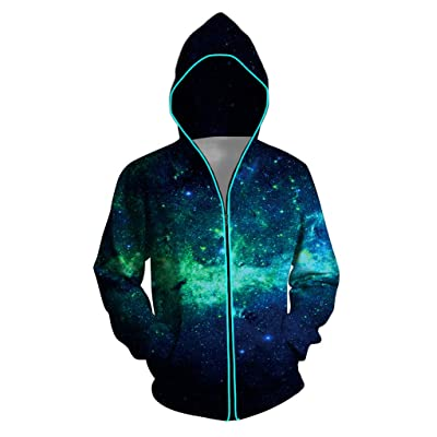 Honeystore Unisex Light Up Hoodie 3D Print Zipper Battery Powered Sweatshirts: Clothing
