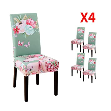 Brilliant Yimeis Comfort Spandex Dining Room Chair Covers Unicorn Colorful Printed Dining Chair Protector Removable Washable Short Dining Chair Seat Covers Squirreltailoven Fun Painted Chair Ideas Images Squirreltailovenorg