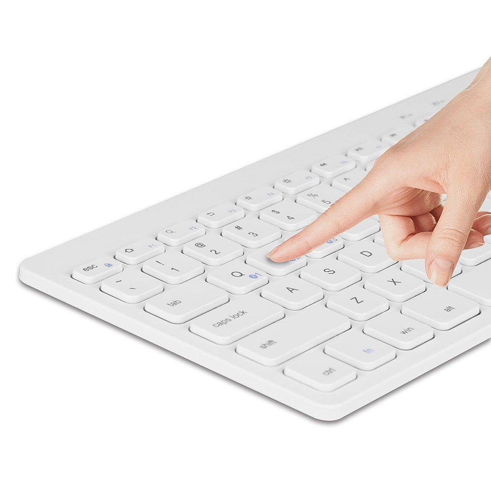 Bluetooth Ultra-Slim Keyboard Wireless with Foldable Stand for iPad Air 2 / Air, iPad Pro, iPad mini 4 / 3 / 2 / 1, iPad 4 / 3 / 2, New iPad, Galaxy Tabs and Other Bluetooth Enabled Devices (White) by Bluegoo (Image #4)