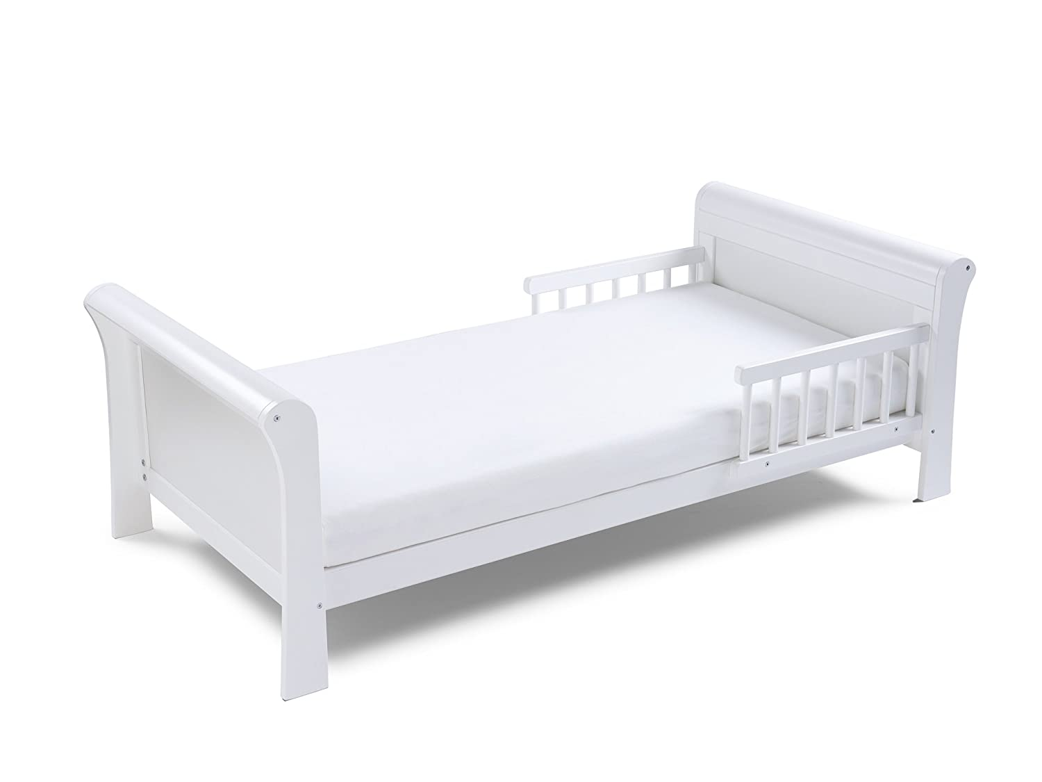 Poppys Playground Grace Sleigh - White Junior Toddler Bed & Safety Foam Mattress Poppy's Playground