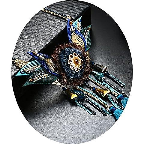Bohemian Statement Charm Pendant Long Chain Necklace Trendy Bohemian Turkish Sweater Chain Jewelry for - Large Opal Globe Pendant