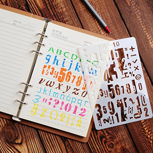 YUEAON 12 Pack Letter and Number Stencils Alphabet Stencil for A5 Bullet Journal Supplies Scrapbooking Painting Drawing Craft -5×7 inch
